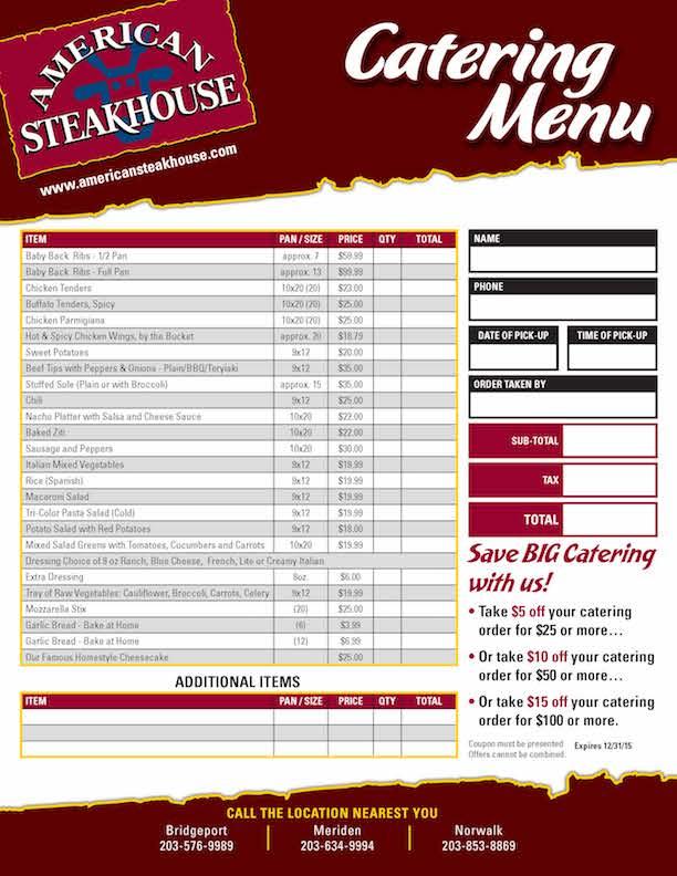 American Steakhouse Catering Menu